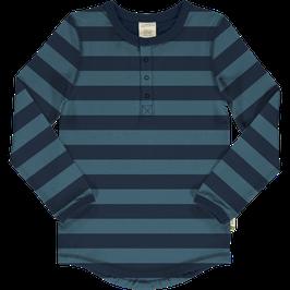 Maxomorra Top LS Slim Button Stripe Blue