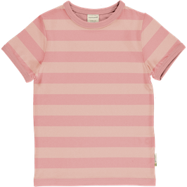 Maxomorra Shirt SS Stripe Dusty Rose