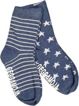 Geggamoja 2-Pack Socks Stripes&Stars Marin