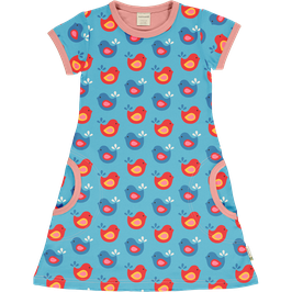 Maxomorra Dress SS Bright Birds