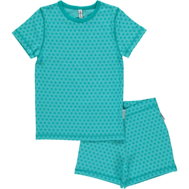 Maxomorra Pyjama SS Stars Turquoise