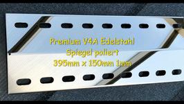 395 mm x 150 mm x 1mm  V4A Edelstahl Premium Spiegel Flammenverteiler