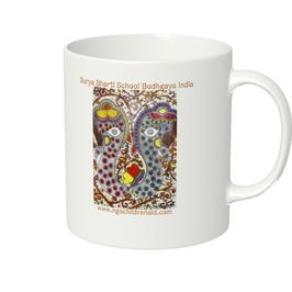 シワ二・クマーリちゃんデザイン「2頭の象」マグカップ(ホワイトorアイボリー)(文字あり、学校名・ホームページ)
