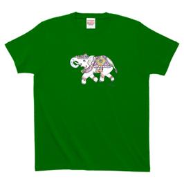 アシュトシュ・クマール君デザイン「象」 Printstar ハイグレードTシャツ メンズ グリーン