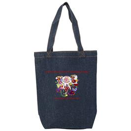 ラディカ・クマーリちゃんデザイン「象と花」デニムトートバッグ(文字あり、学校名・ホームページ)