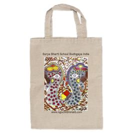シワ二・クマーリちゃんのデザイン「2頭の象」トートバッグ(文字あり、学校名・ホームページ)