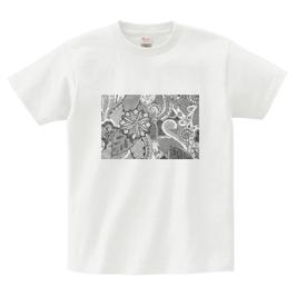 ディワーカル君デザイン「草と花」printstar ヘビーウェイトTシャツ ホワイト