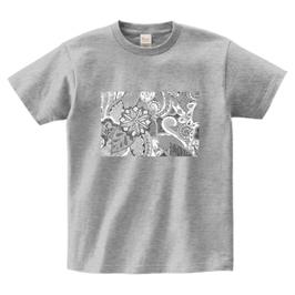 ディワーカル君デザイン「草と花」printstar ヘビーウェイトTシャツ グレイ