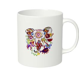 ラディカ・クマーリちゃんデザイン「象と花」マグカップ(ホワイトorアイボリー)
