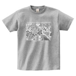 ディワーカル君デザイン「草と花」printstar ヘビーウェイトTシャツ グレイ(文字あり、学校名・HP)