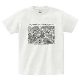 ディワーカル君デザイン「草と花」printstar ヘビーウェイトTシャツ ホワイト(文字あり、学校名・HP)
