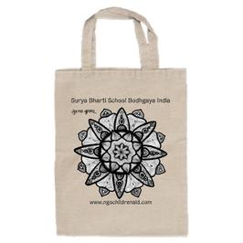 スシャント君のデザイン「蓮の花」トートバッグ(文字あり、学校名・ホームページ)