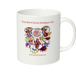 ラディカ・クマーリちゃんデザイン「象と花」マグカップ(ホワイトorアイボリー)(文字あり、学校名・ホームページ)