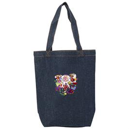 ラディカ・クマーリちゃんデザイン「象と花」デニムトートバッグ