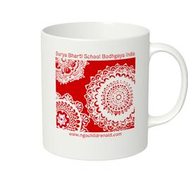 シワ二・クマーリちゃんデザイン「花」マグカップ(ホワイトorアイボリー)(文字あり、学校名・ホームページ)