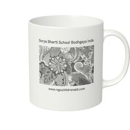 ディワーカル君のデザイン「草と花」マグカップ(ホワイトorアイボリー)(文字あり、学校名・ホームページ)