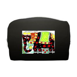 スシャント君のデザイン「黒い象」ポーチ(ブラック)