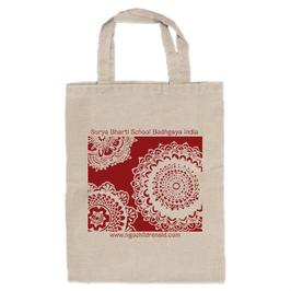 シワ二・クマーリちゃんのデザイン「花」トートバッグ(文字あり、学校名・ホームページ)