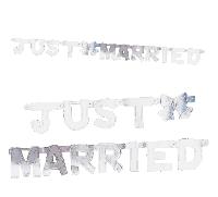 Girlande Just Married silber 02