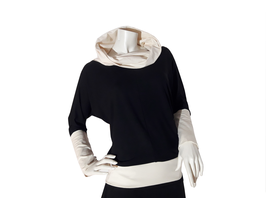 Fledermaus-Shirt mit Kragen schwarz/creme