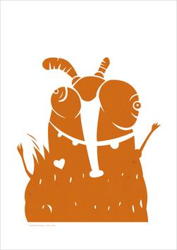 A3 Druck | Rüsselmücke | orange