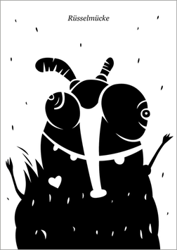 Postkarte | Rüsselmücke | schwarz