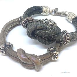 """Armband 925Silber mit Textilband """"Node"""""""