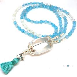 """Halskette mit 925Silber, blauem Achat und Bergkristall """"Ocean blue"""""""