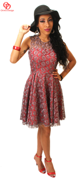 Guipure lace skater dress