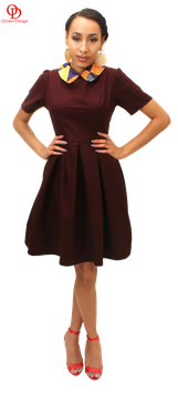 Skater dress with african print collar