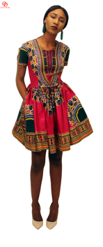 Deep Red (Maroon) Dashiki Print Skater Dress
