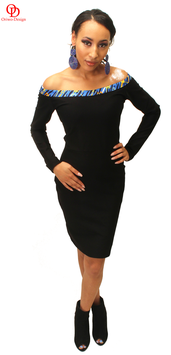 Black off shoulder dress with ankara detail