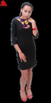 Deep maroon shift dress with ankara neck detail