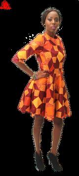 Scalloped edge african print skater dress