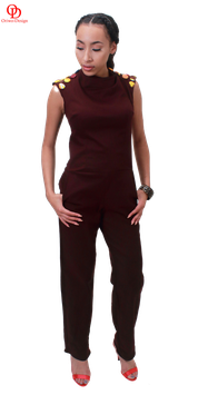 Straight leg jump suit embellished with fabric covered buttons
