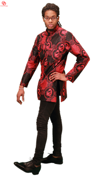 red black african print shirt mens shirt