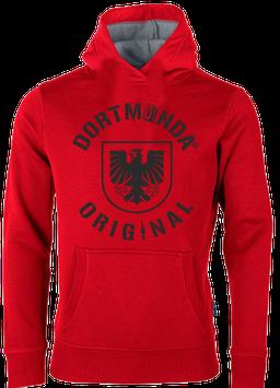 Hoodie unisex rot Dortmunda-Original-Stadtwappen