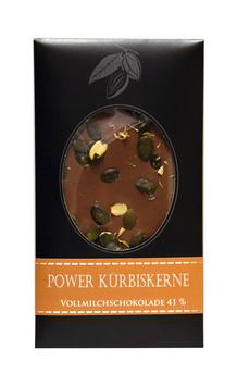 """""""Power Kürbiskerne Vollmilchschokolade"""" Edelschokolade, 100g"""