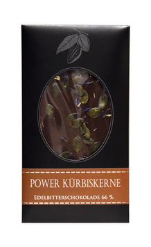 """Power Kürbiskerne Edelbitterschokolade 66%"" Edelschokolade, 100g"