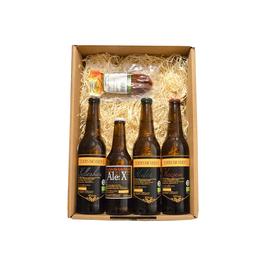 Eders Bio-Bier Box, 1 Paar Chili- Würstel, 1x EDERS BIO Ale:X, 1x EDERS BIO Weizen hell, 1x EDERS BIO Hafer, 1x EDERS BIO Kellerbier