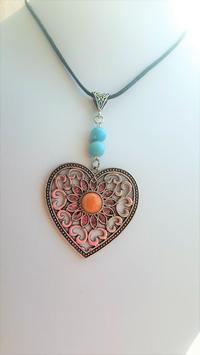 collier coeur perle larimar / pierre du soleil