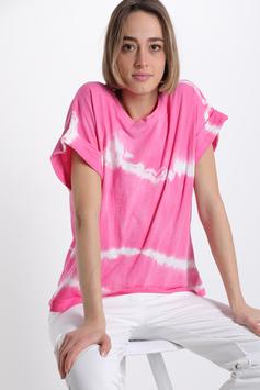T-Shirt En Coton Imprimé Batik rose