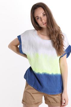 T-Shirt En Lin Imprimé Coloré