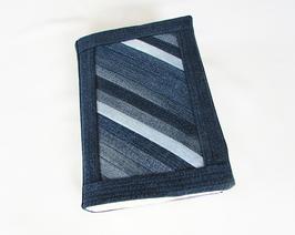 Buchumschlag, Buchhülle A5 Jeans gestreift
