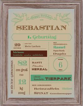 Vintage-Poster zum Geburtstag UNISEX