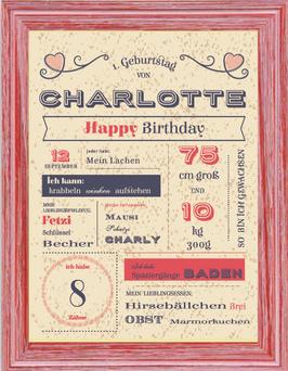 Vintage-Poster zum Geburtstag GIRL