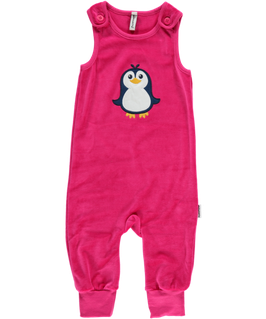 Maxomorra Playsuit velour Pinguin pink