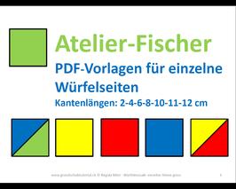PDF-Vorlagenheft 7: Atelier-Fischer Vorlagen, einzelne grosse Würfelseiten. Für angeleitetes Spielen und Lernen im Kreis oder in der Kleingruppe