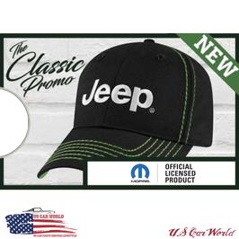 Jeep Basecap - Classic Style - Jeep Logo Silber - Nähte Grün