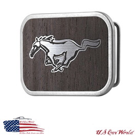 Ford Mustang Gürtelschnalle - Buckle - Holzoptik